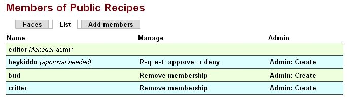 Group administrator member list - request to join