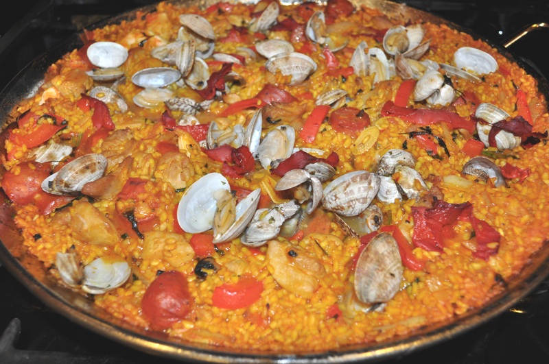 Paella Mixta with Chicken, Chorizo, mussels, clams and shrimp